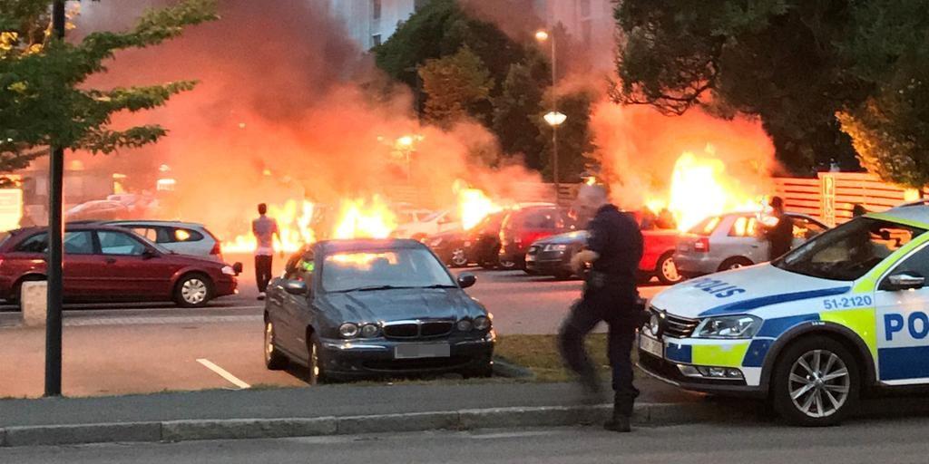 Burning cars in Sweden